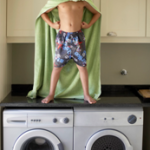 boy on washer